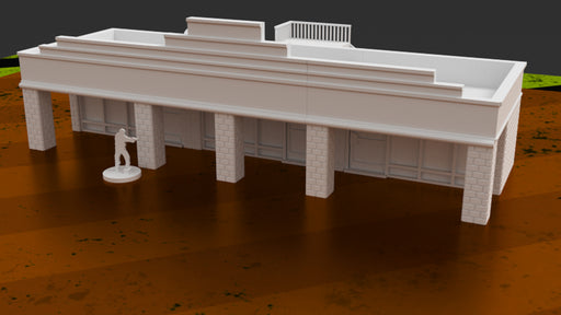 Corvus Games Terrain 3D printable Strip Mall urban terrain for Last Days, Fallout, The Walking Dead, This Is Not A Test and other modern 28mm tabletop wargames