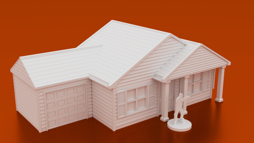Corvus Games Terrain 3D printable Suburban House for urban games like Fallout, The Walking Dead, This Is Not a Test, Marvel Crisis Protocol, Last Days 28mm scale