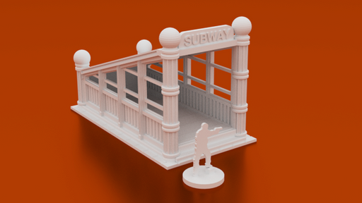 Corvus Games Terrain 3D printable Subway Entrance for urban games like Fallout, The Walking Dead, This Is Not a Test, Marvel Crisis Protocol, Last Days