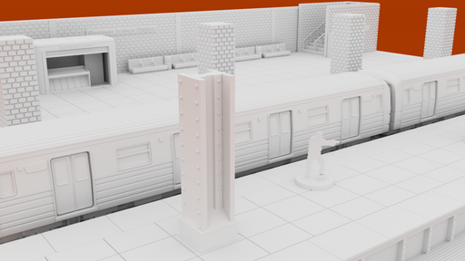 Corvus Games Terrain 3D printable Subway Underground Metro Platform for 28mm urban games like Fallout, The Walking Dead, This Is Not a Test, Marvel Crisis Protocol, Last Days