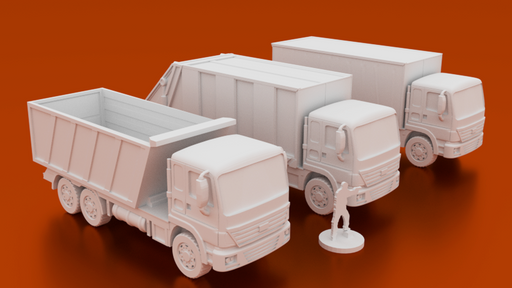 Corvus Games Terrain 3D printable Truck terrain bundle for urban games like Fallout, The Walking Dead, This Is Not a Test, Marvel Crisis Protocol, Last Days