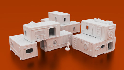 Corvus Games Terrain 3D printable Underhive Container Hab Buildings in 28mm for Warhammer 40K, Kill Team, Necromunda, Star Wars Legion and Infinity The Game