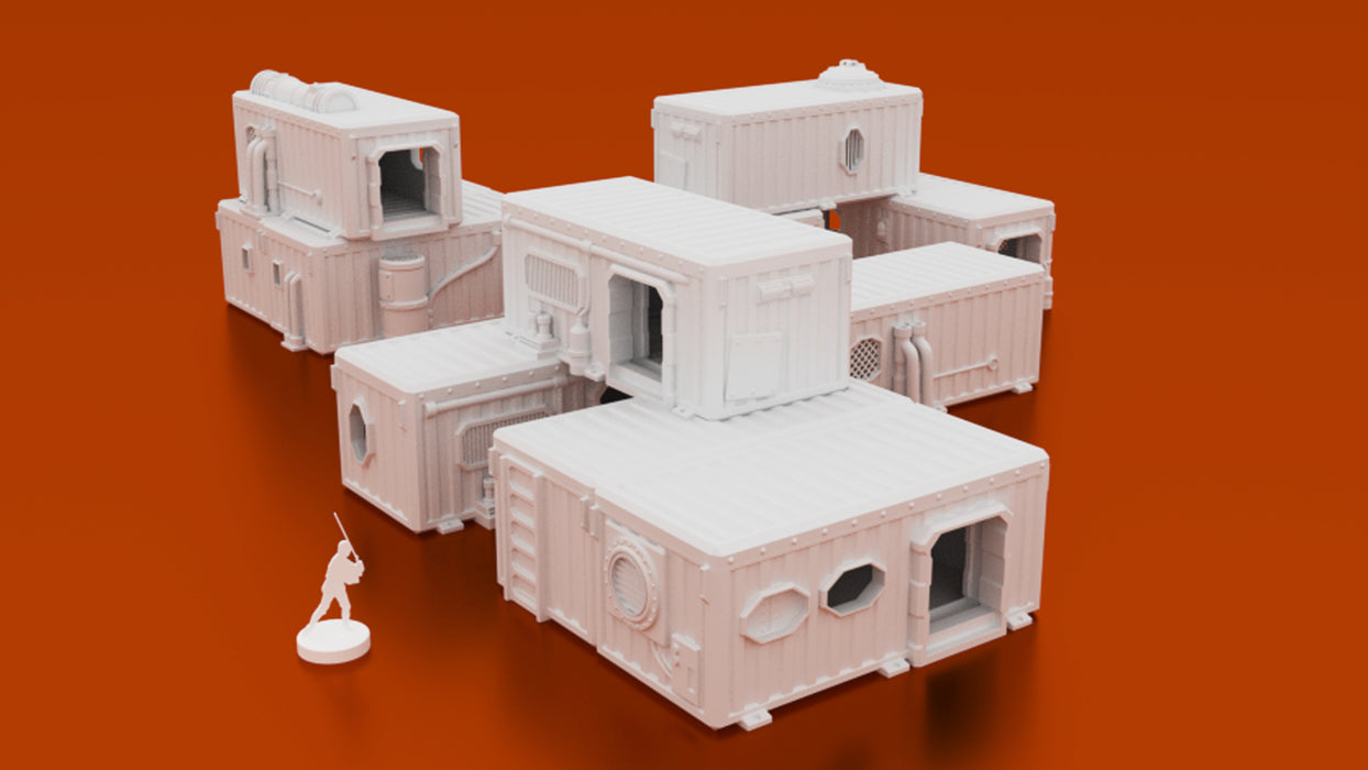 Corvus Games Terrain 3D printable Underhive Container Hab Buildings in 28mm for Warhammer 40K, Kill Team, Necromunda, Star Wars Legion and Infinity, This Is Not A Test