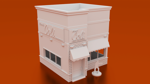 Corvus Games Terrain 3D printable Urban Restaurant building for Marvel Crisis Protocol, Walking Dead, Last Days
