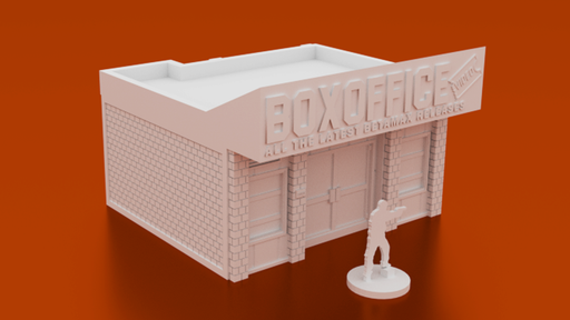 Corvus Games Terrain 3D printable Video Store for urban games like Fallout, The Walking Dead, This Is Not a Test, Marvel Crisis Protocol
