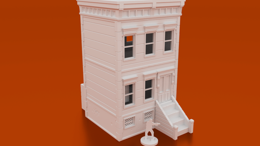 Corvus Games Terrain 3D printable brownstone 3 floor building for tabletop wargaming like Marvel Crisis Protocol, Last Days, The Walking Dead, Fallout, This Is Not A Test