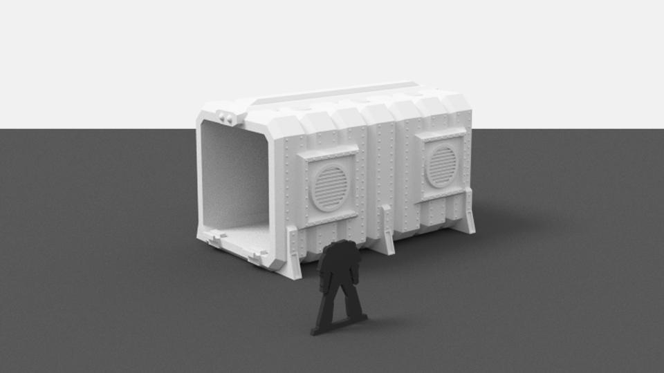 Corvus Games Terrain 3D printable cargo containers for Star Wars Legion and Warhammer 40K