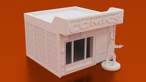 Corvus Games Terrain 3D printable comics store 28mm tabletop wargaming Marvel Crisis Protocol, Fallout, The Walking Dead