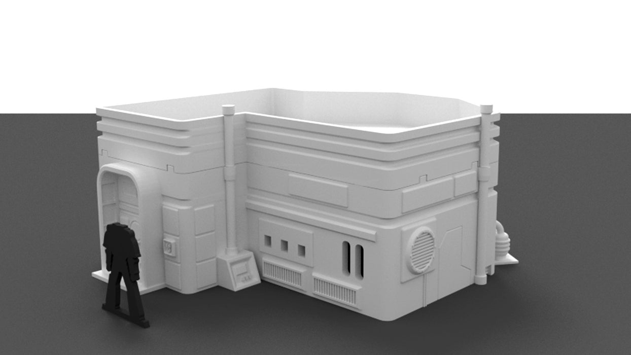 Corvus Games Terrain 3D printable medium size city house for Star Wars Legion, Infinity, and Warhammer 40k