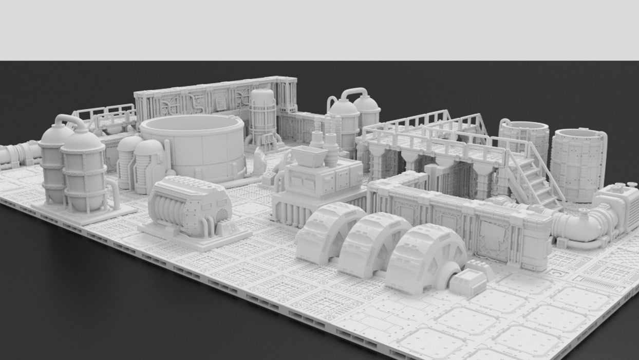 Corvus Games Terrain 3D printable Industrial Chemzone modular scenery for Warhammer 40K, Necromunda, Kill Team