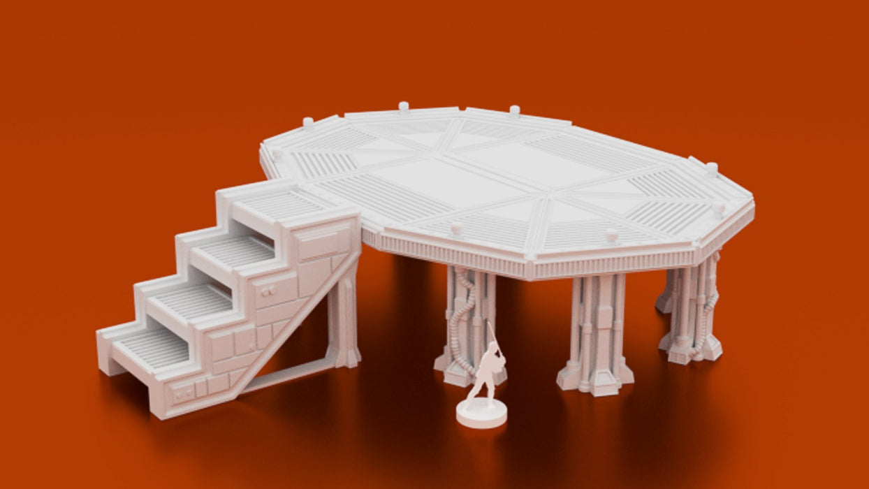 Corvus Games Terrain 3D printable MidRim City Landing Pad for Star Wars Legion, Infinity and Star Breach