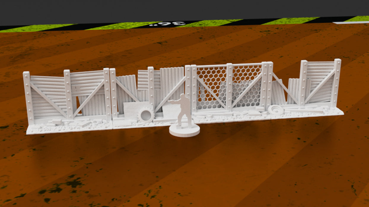 Corvus Games Terrain 3D printable fence barriers for post apocalyptic games like Fallout, Last Days, The Walking Dead, This Is Not A Test