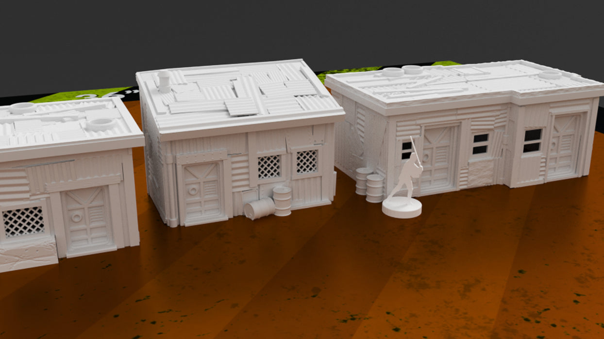Corvus Games Terrain 3D printable scenery Shanty Town buildings for Star Wars Legion, Fallout, Last Days, This is Not a Test, and Warhammer 40000