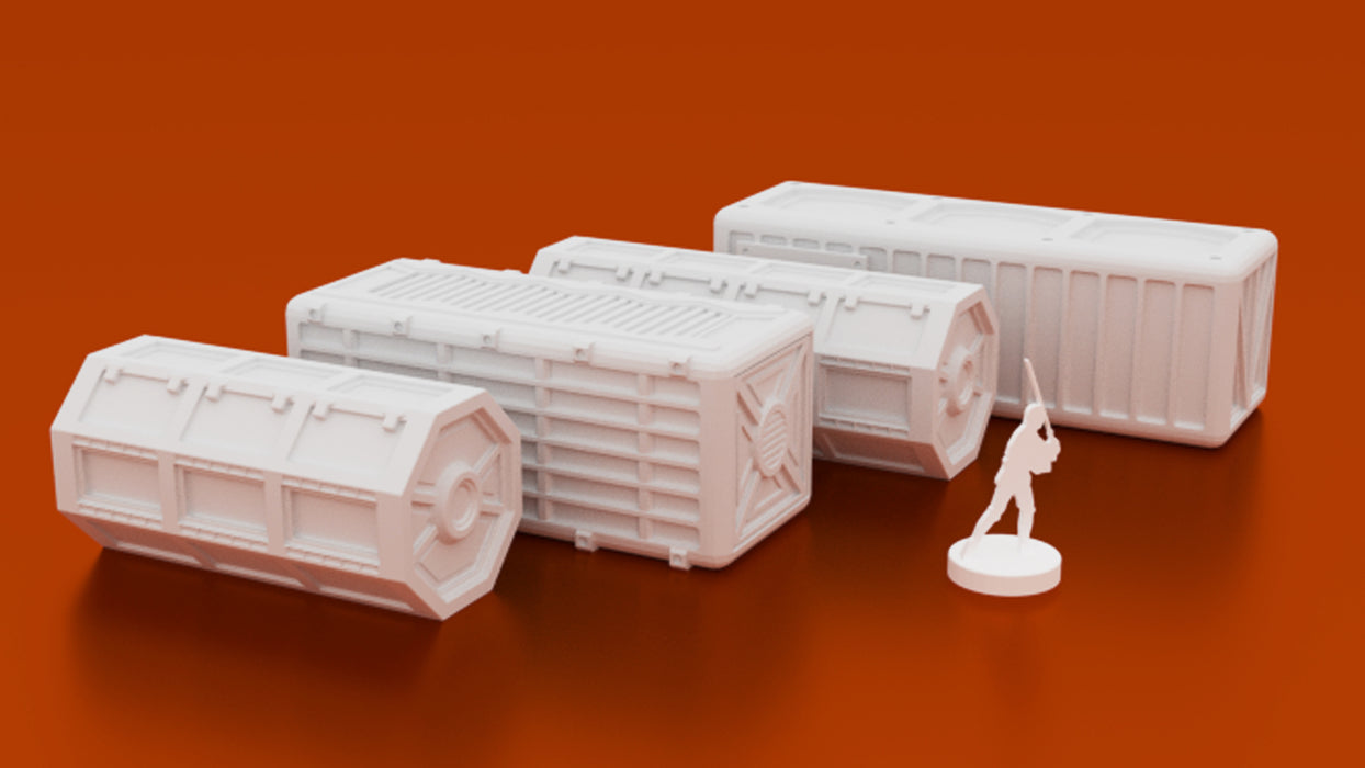 Corvus Games Terrain 3D printable scifi cargo shipping containers for Star Wars Legion, Warhammer40K, Kill Team and Infinity