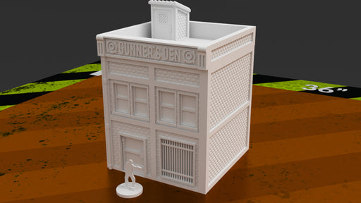 Corvus Games Terrain 3D printable urban gun store for 28mm tabletop wargaming