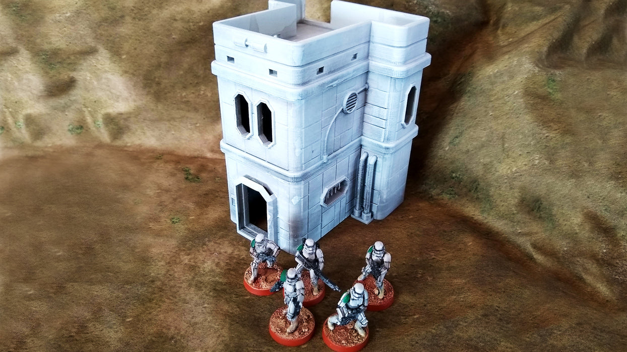 Corvus Games Terrain 3D printed Colony Mining Town Building A for Star Wars Legion, Warhammer 40K and Infinity