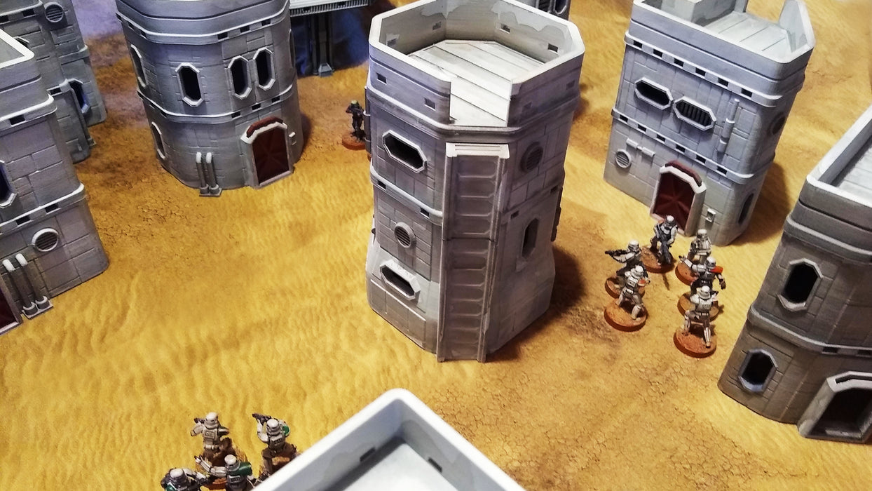 Corvus Games Terrain 3D printed Colony Mining Town Buildings for Star Wars Legion, Warhammer 40K and Infinity