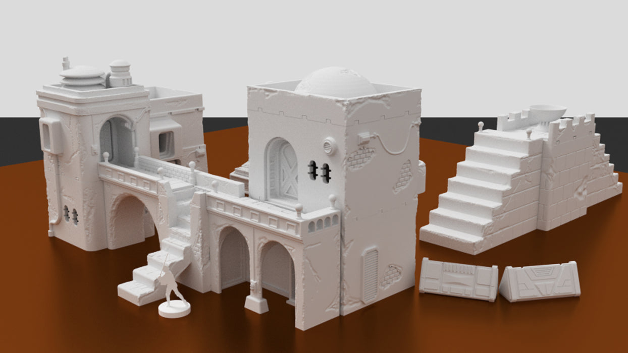 Corvus Games Terrain 3D printed Jedha city for Star Wars Legion 34mm tabletop wargame
