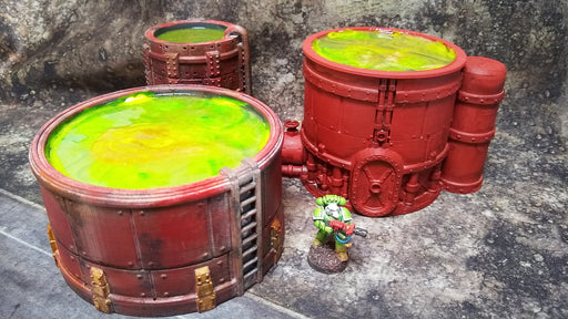 Sci-fi Industrial Chemworks Toxic Storage Tanks Bundle - Physical Print