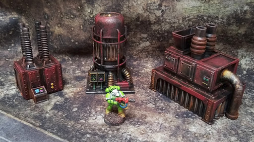 Corvus Games Terrain 3D printed Kill Team machinery terrain pieces for Warhammer 40K, Infinity, Star Wars Legion, Space Hulk