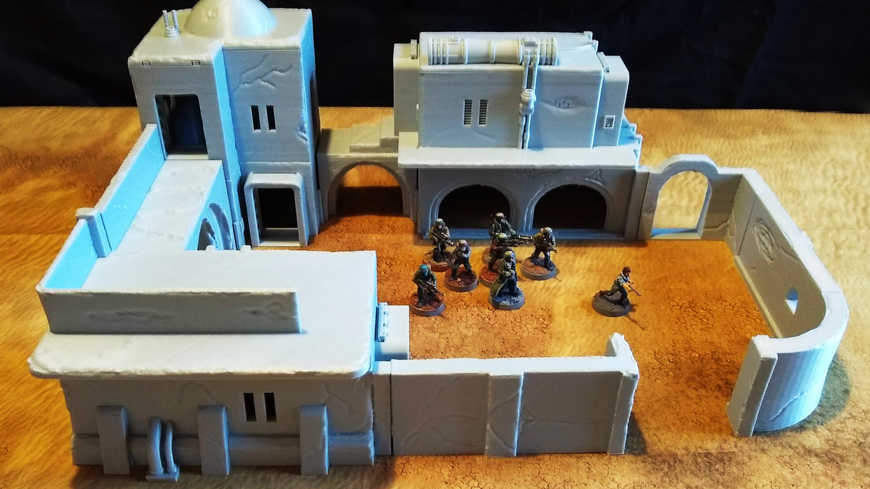 Corvus Games Terrain 3D printed Pilgrim City Commerce Guild complex for 34mm tabletop wargaming and Star Wars Legion