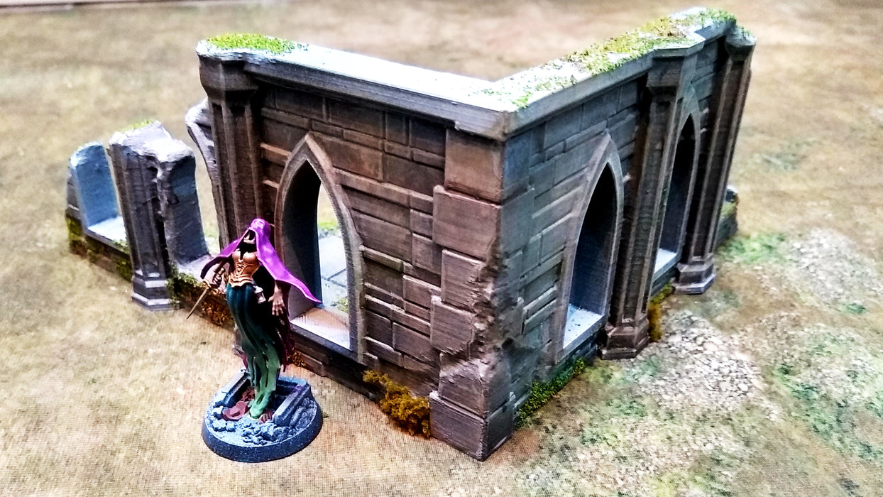 Corvus Games Terrain 3D printed Sigillum Maleficis ruined building corner for Warhammer Age of Sigmar, Frostgrave, Kill Team, and Warhammer 40K
