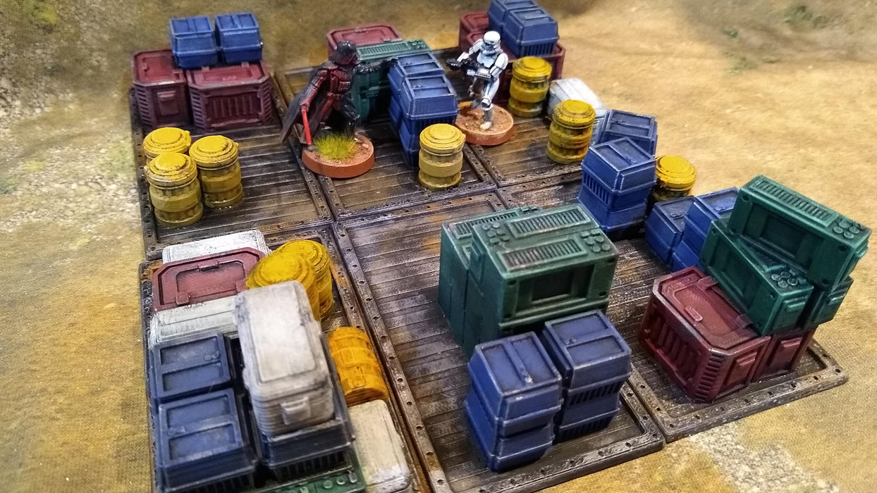 Corvus Games Terrain 3D printed cargo crates on pallets for Star Wars Legion, Kill Team and Warhammer 40000