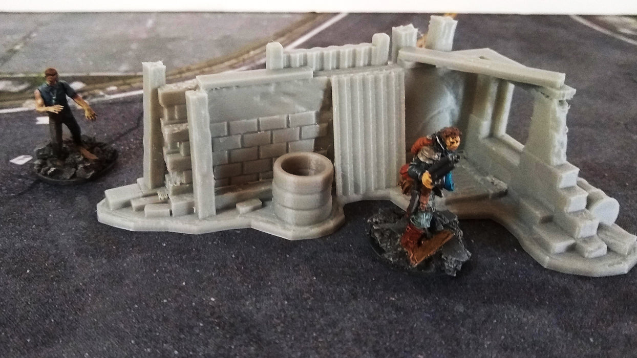 Corvus Games Terrain 3D printed corner barricade for 28mm tabletop wargaming like Fallout, This is not a Test, Wreckage, Last Days, The Walking Dead
