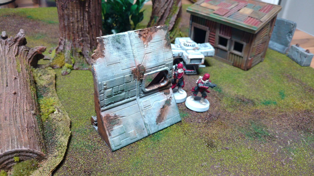Corvus Games Terrain 3D printed downed starship blocking terrain for Star Wars Legion and Warhammer 40K