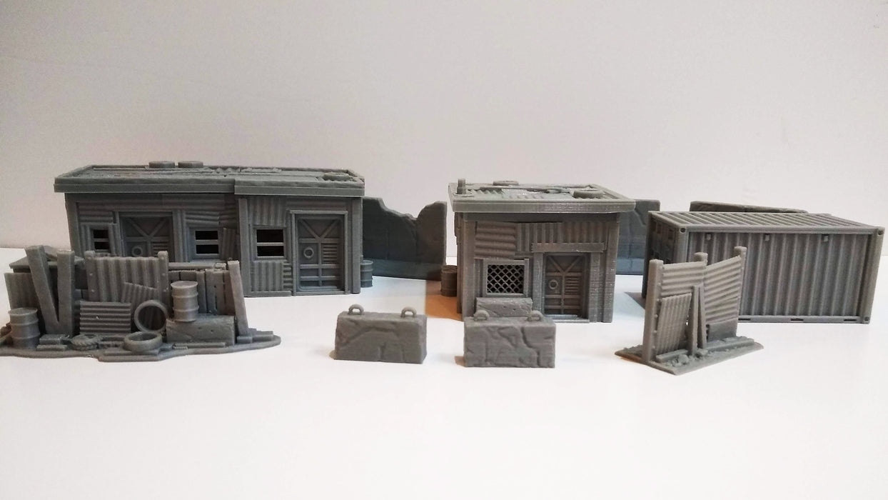 Corvus Games Terrain 3D printed post apocalyptic wasteland compound bundle for 28mm tabletop wargames like Fallout, Warhammer 40K, Necromunda, Kill Team, This Is Not A Test, The Walking Dead