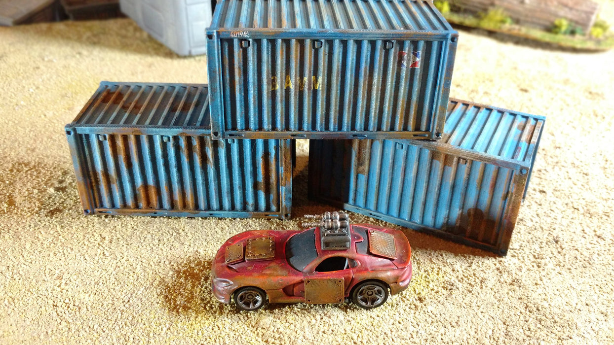 Corvus Games Terrain 3D printed shipping containers for Gaslands car combat tabletop wargame