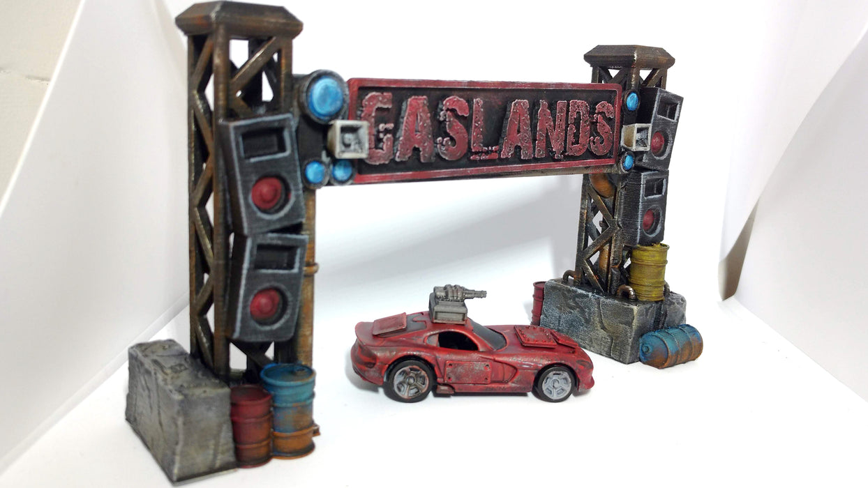 Corvus Games Terrain 3D printed starting gate scenery for Gaslands car combat death race tabletop wargame