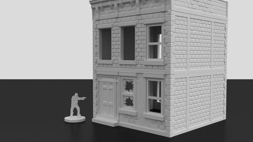 Corvus Games Terrain 3D printed urban multi floor apartment building for tabletop wargames like Last Days, Fallout, The Walking Dead, This Is Not A Test