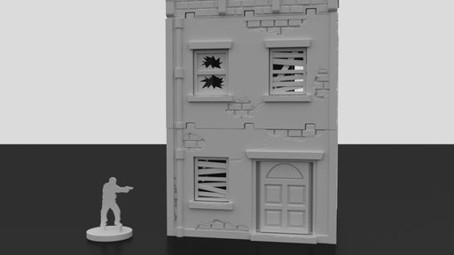 Corvus Games Terrain 3D printed urban house for survival tabletop wargames like Last Days, The Walking Dead, Fallout, This Is Not A Test