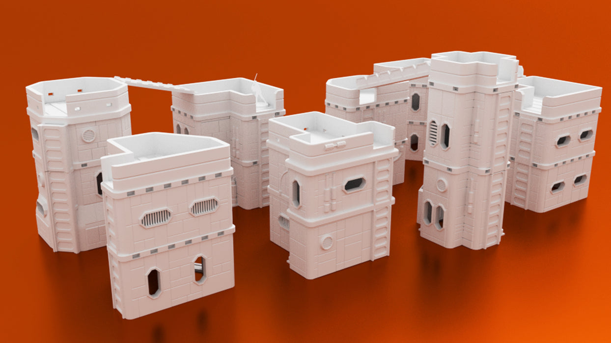Corvus Games Terrain Colony Mining Town 3D printable bundle of buildings for Infinity, Warhammer 40k and Star Wars Legion