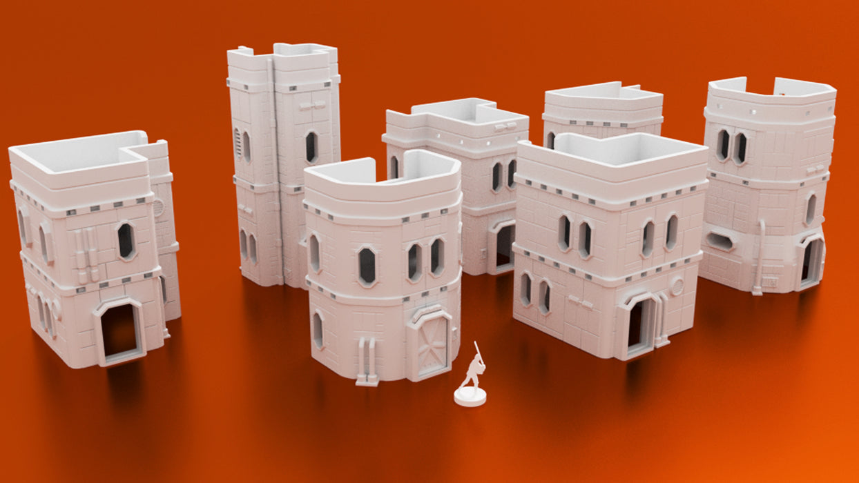 Corvus Games Terrain Colony Mining Town 3d printable bundle of buildings for Star Wars Legion, Infinity, Warhammer 40K