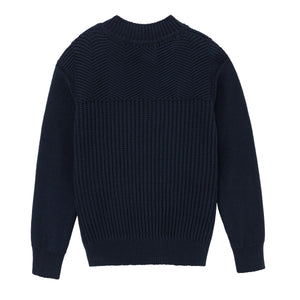 Navy Stitch-Mix Sweater