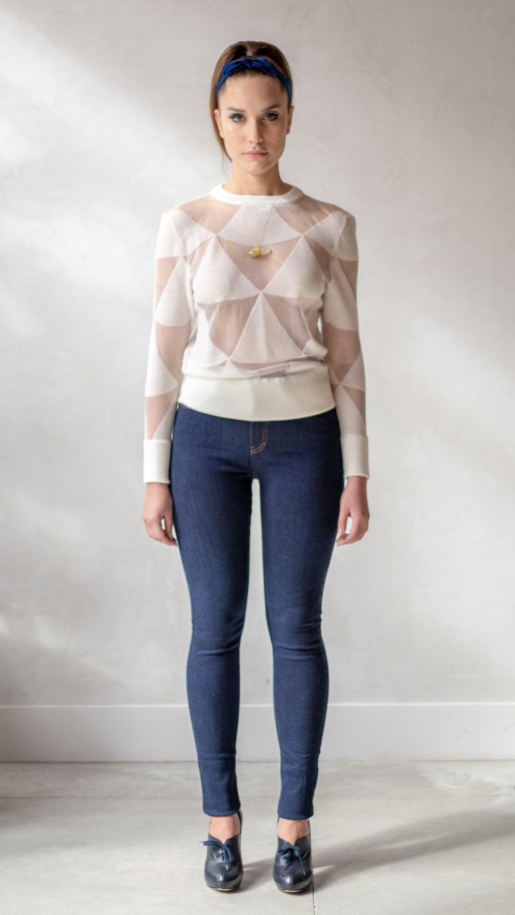 White Triangle Intarsia Sweater