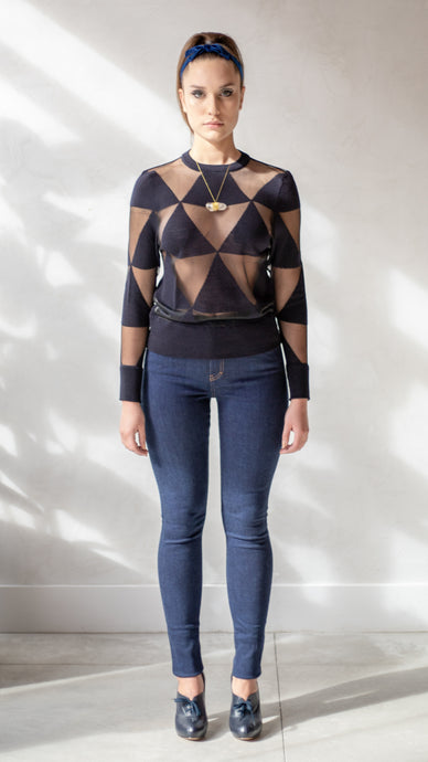 Navy Triangle Intarsia Sweater