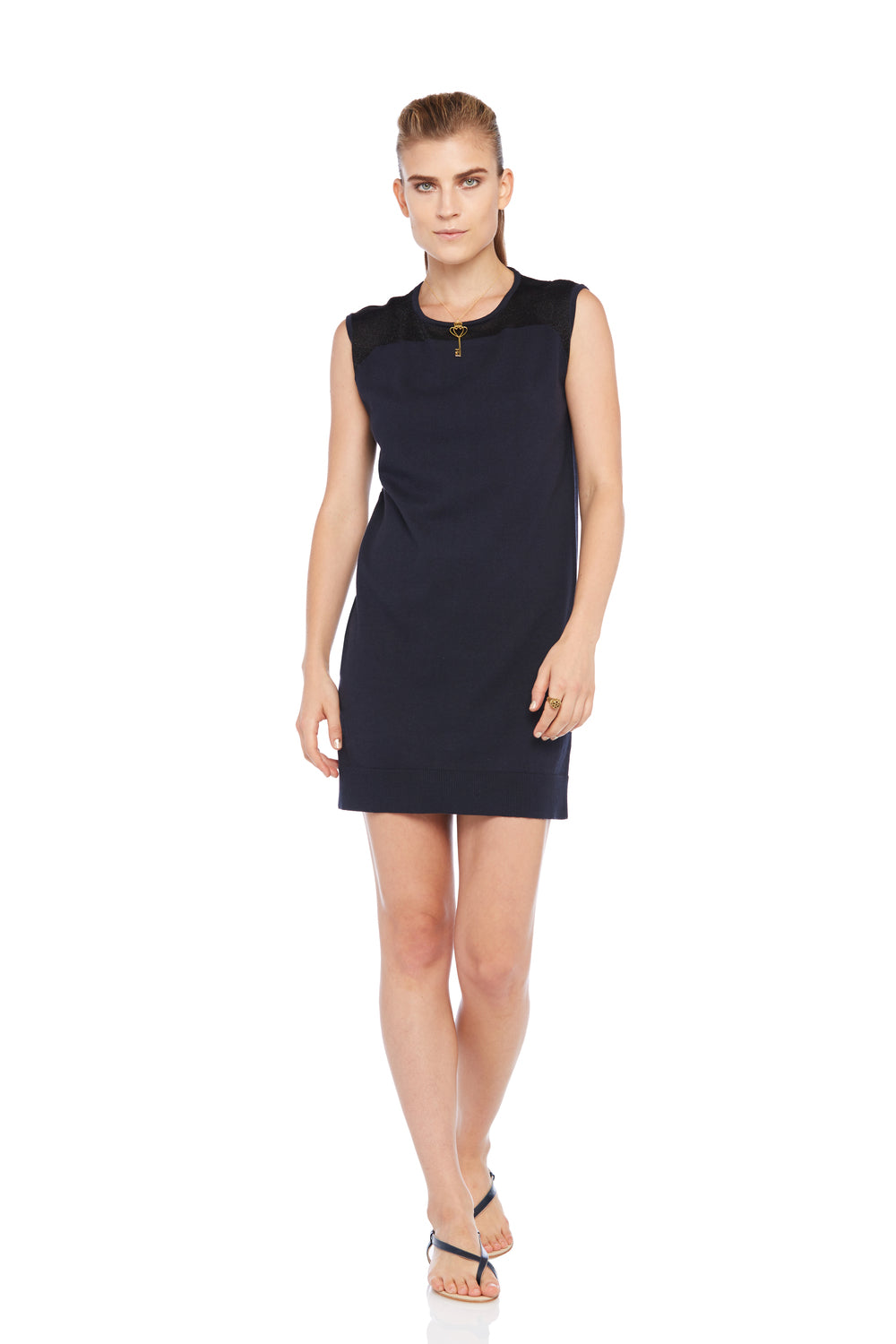 Navy Intarsia Dress
