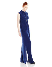 Navy Long Dress with Shoulder Detail