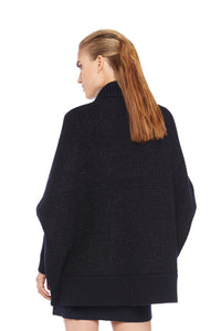 Navy Merino Wool Cape