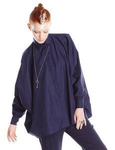 Navy Cotton Oversized Shirt