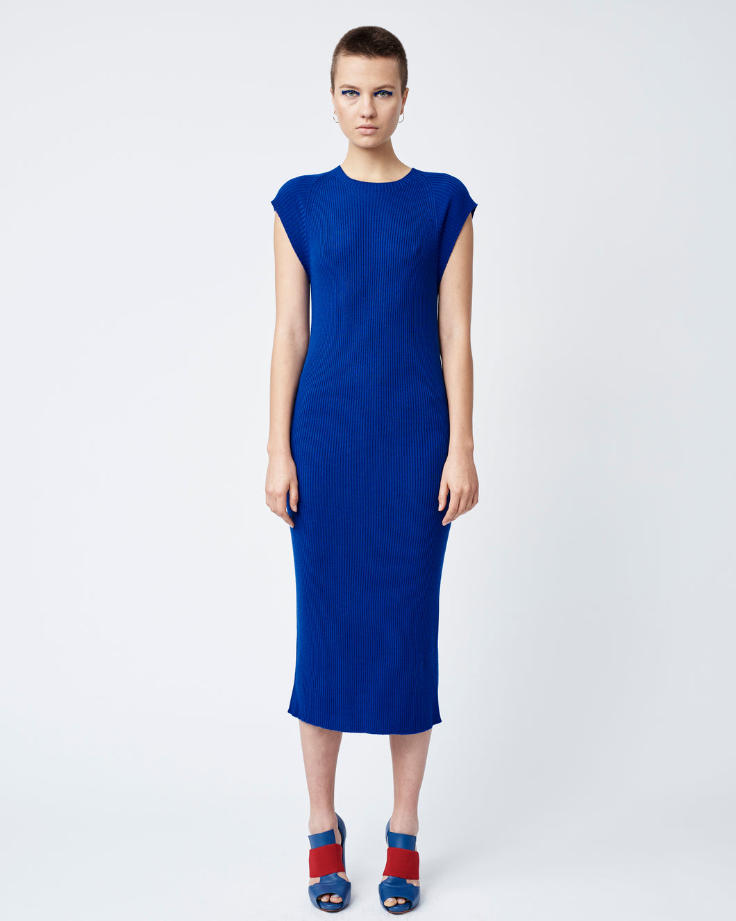 Blue Seamless Rib Dress
