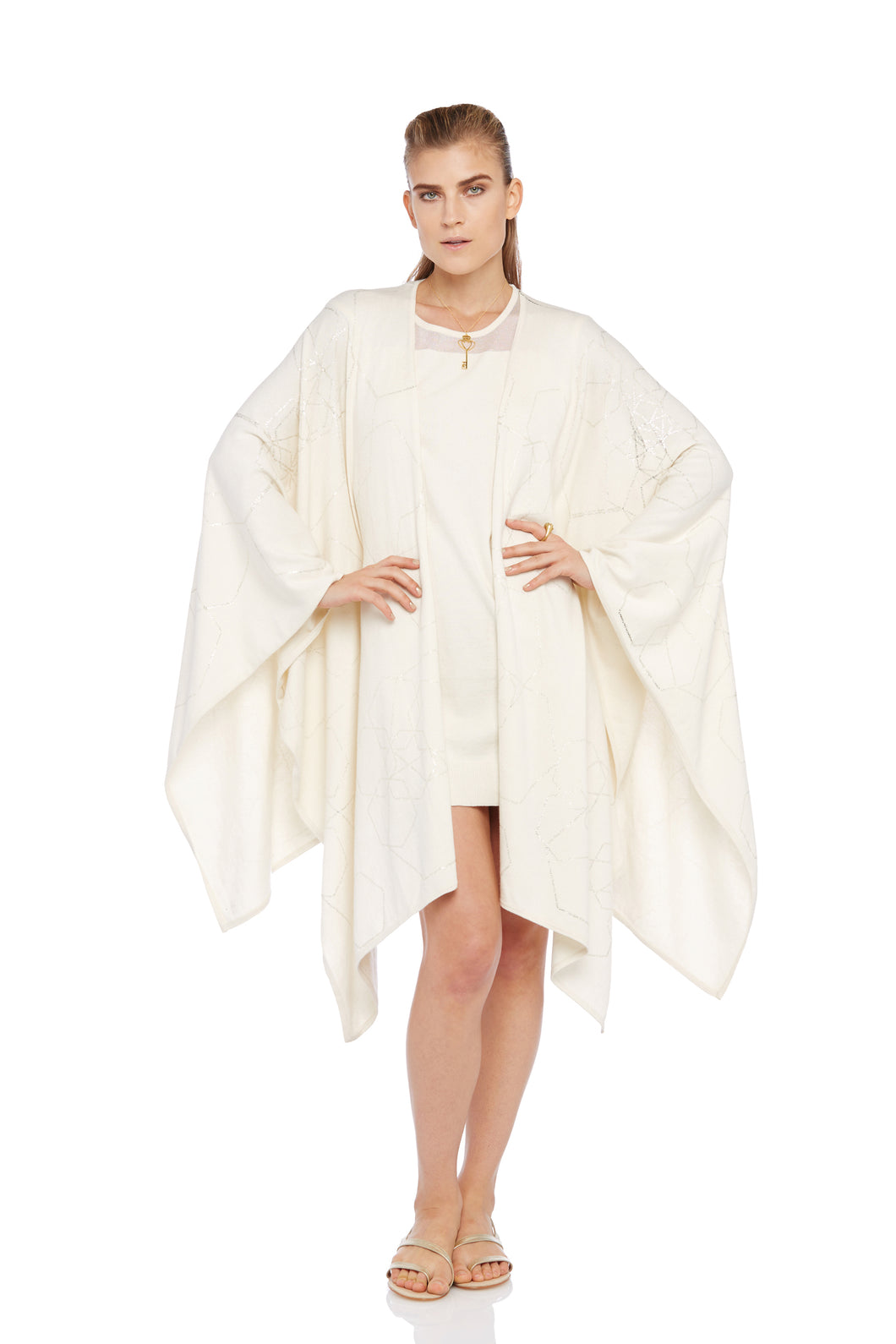 Ecru Poncho with Poem