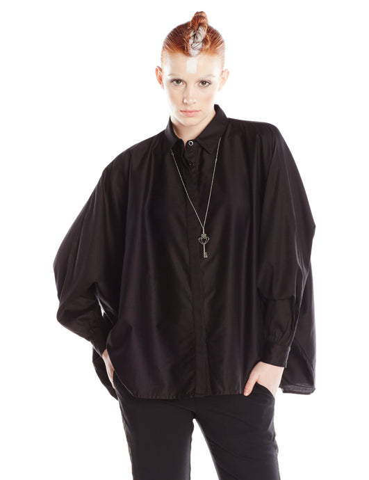 Black Cotton Oversized Shirt