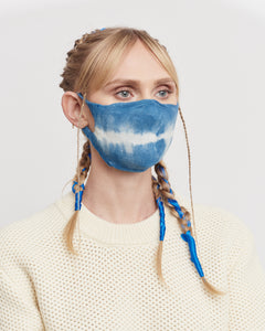 Indigo Tie-Dyed Knitted Mask 2