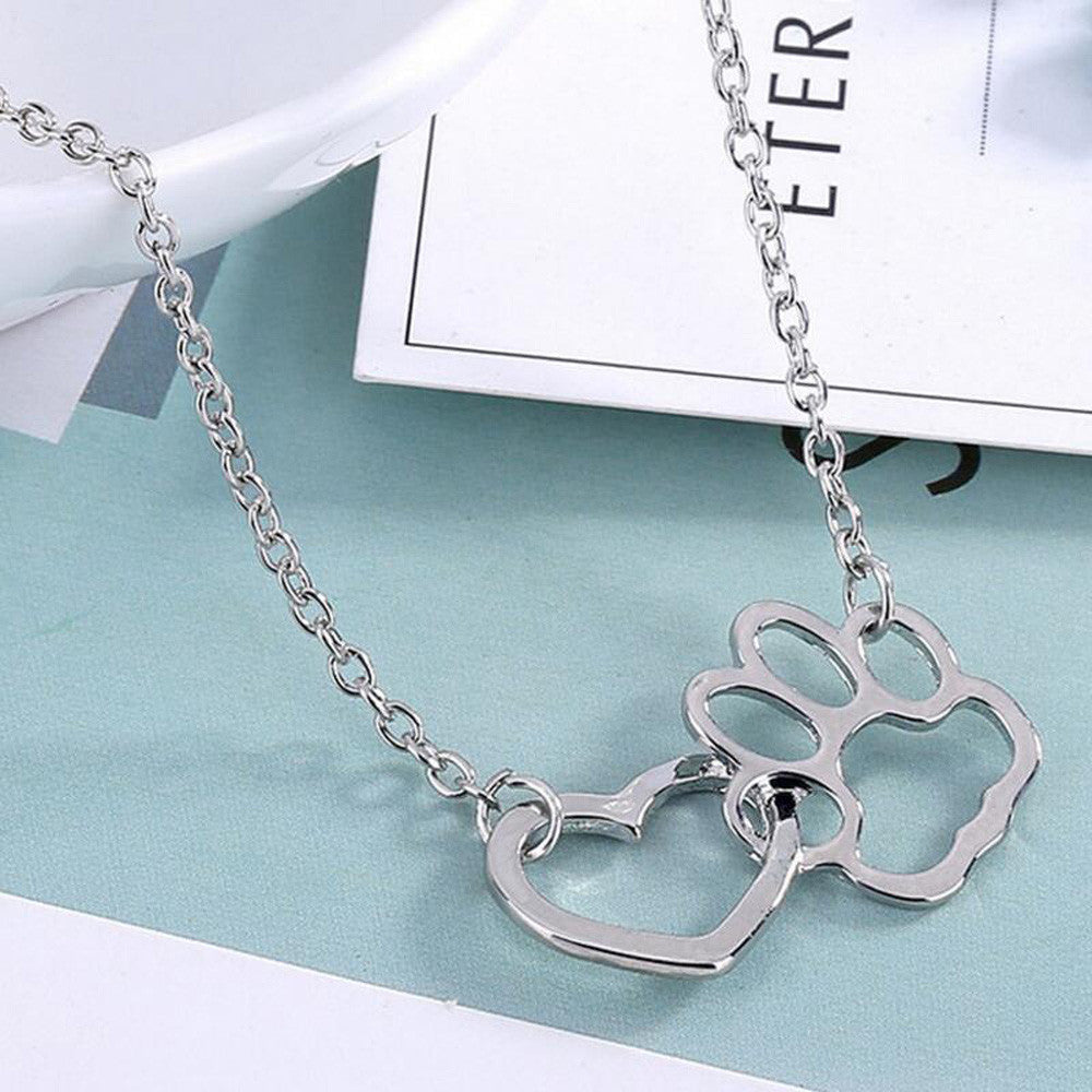 Pendant Necklace Rhinestone Pet Paw