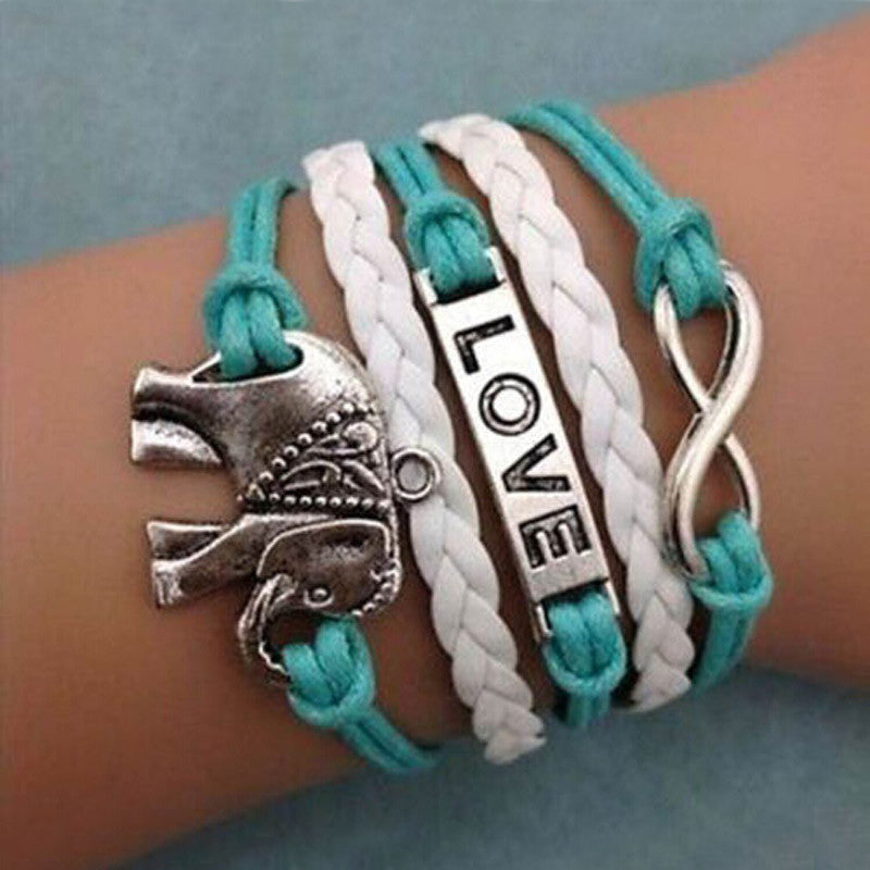 Love Elephants Leather Charm Bracelet
