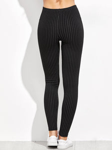 Vertical Striped High Waist Leggings [chicberri]